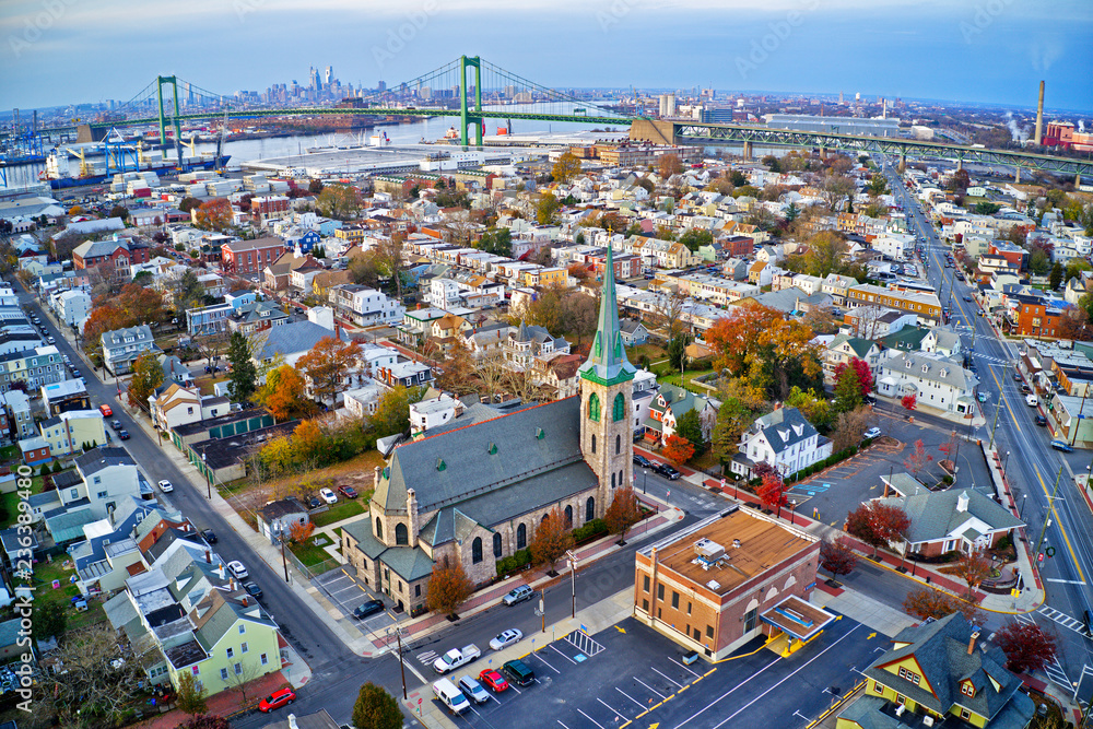 Photo  Aerial View of Delaware Riverfront Town Gloucester New Jersey
