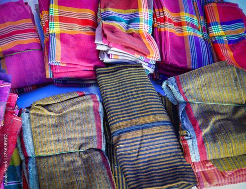 Fotomural silk colorful loincloth fabric in fashion store