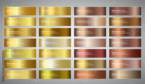 Fototapeta Vector Banners with gold and bronze gradient backgrounds obraz