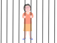 監禁されたシニアの女...