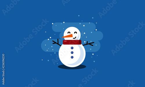 Snowman Vector Illustration in Flat Style Design Wallpaper Mural