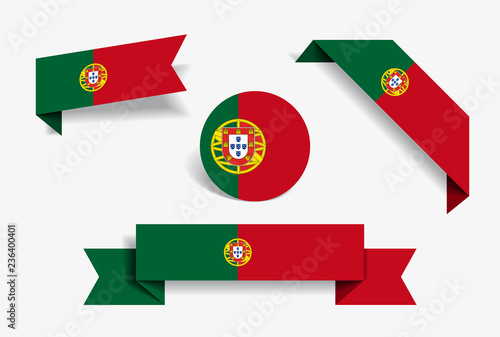 Foto  Portuguese flag stickers and labels. Vector illustration.