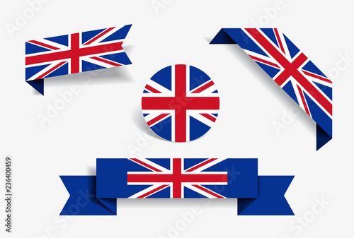 Carta da parati Great Britain flag stickers and labels. Vector illustration.