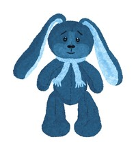 Cute Blue Smiling Vintage Hare...