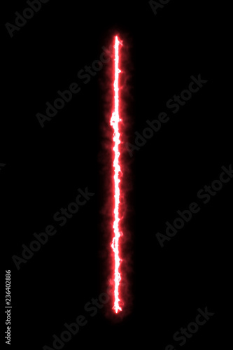Photographie  Realistic bright laser beam sword on black background.