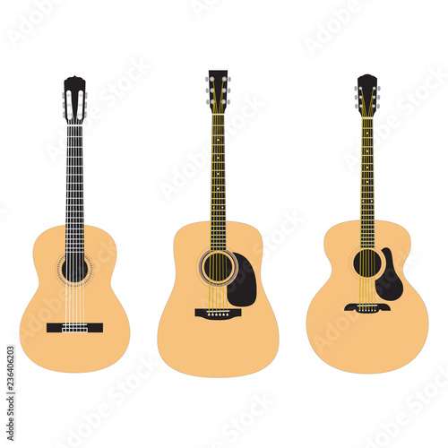 Set of acoustic guitars isolated on white background Canvas Print