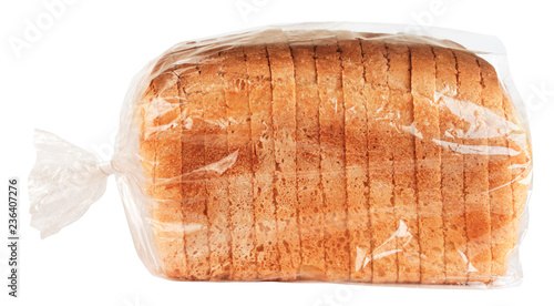 Sliced bread in plastic bag isolated on white background Canvas Print
