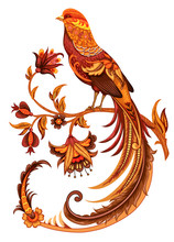 Golden Pheasant. Embroidery Stylization