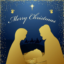 Merry Christmas Religious Greeting. Son Of God Was Born Spiritual Biblical History. Square Dark Blue Background, Silhouette Of Couple And Wise Men Characters Isolated Graphic Xmas Icon Design Template