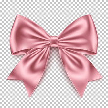 Realistic Pink Bow Isolated On...