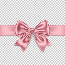 Realistic Pink Gift Bow And Ribbon Isolated On Transparent Background.