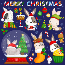 A Vector Set Of Cute Little Bunny In Various Poses And Costume For Christmas Celebration