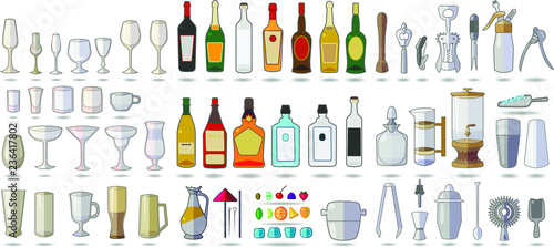 Carta da parati Set of objects bar equipment, Alcohol, tools, Tableware, icons isolated on white
