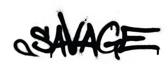 graffiti savage word sprayed in black over white