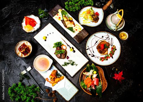 Fototapeta Japanese sashimi cuisine and side dish obraz na płótnie