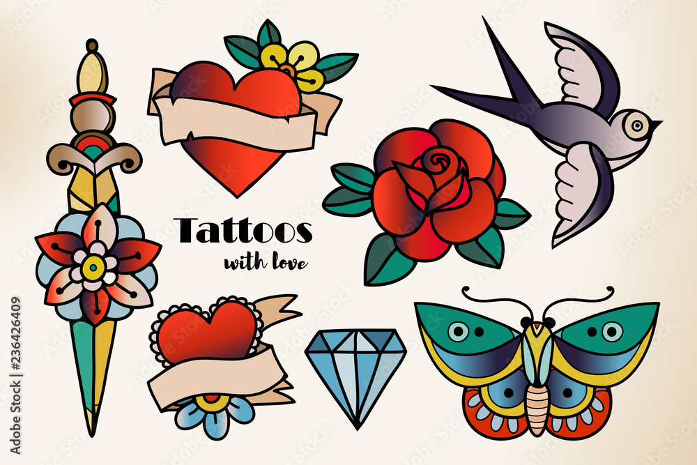 Fototapeta Hand drawn traditional tattoos. Colored graphic vector set. All elements are isolated