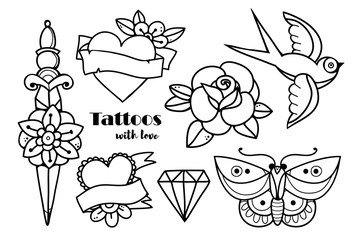 Hand drawn traditional tattoos. Graphic vector set. All elements are isolated