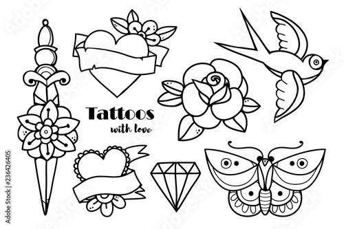 Fotografie, Obraz  Hand drawn traditional tattoos