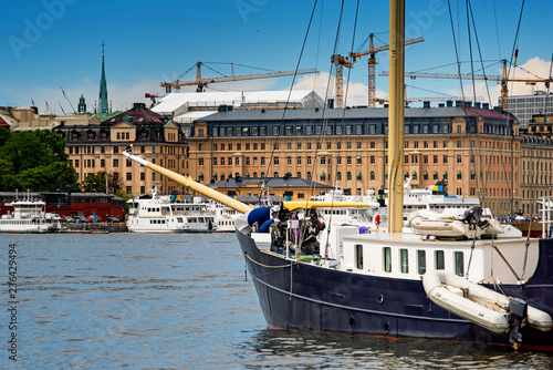 Garden Poster London Boats and ships moored at the quay Stockholm city center, Sweden