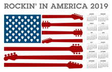 Rocking In America.  A 2019 Calendar With An American Flag Made Of Guitar Necks And Picks.