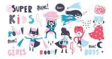 Super Hero Kids. Boys And Girls. Big Hand Drawn Colored Vector Set. All Elements Are Isolated