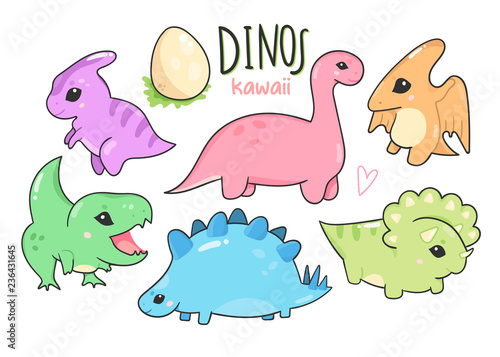 Photo  Cute little kawaii dinosaurs