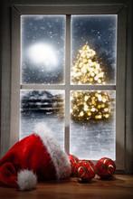 Christmas Tree And Window Sill