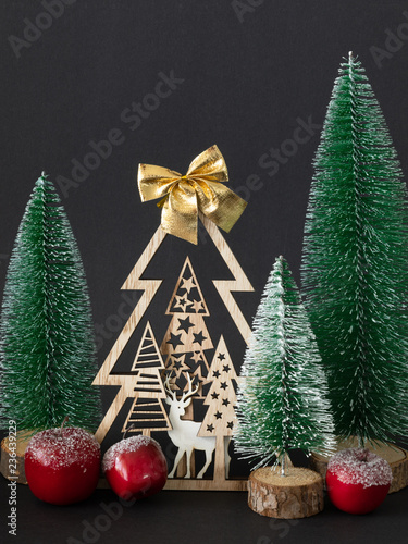 Foto  Seasonal holiday Christmas decoration red apples