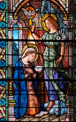 NaklejkaAnnunciation to the Virgin Mary, stained glass window in the Cathedral of Saint Lawrence in Lugano, Switzerland
