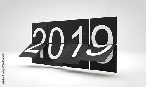 New Year 2019 clock countdown Changing year date. 3D Rendering