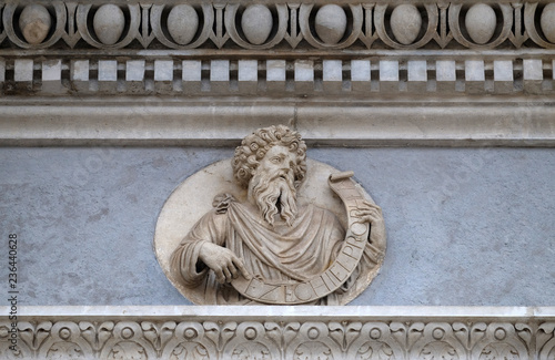 Photo  Prophet Ezekiel, relief on the portal of the Cathedral of Saint Lawrence in Luga