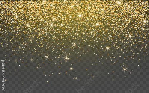 Fototapeta Golden glitter sparkle on a transparent background. Gold Vibrant background with twinkle lights. Vector illustration obraz
