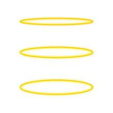 Set Halo Angel Ring . Holy Golden Nimbus Circle Isolated On White Background. Vector Illustration.