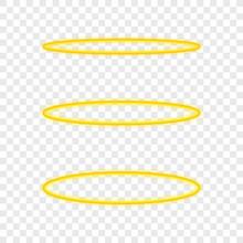 Set Halo Angel Ring . Holy Golden Nimbus Circle Isolated On Transparent Background. Vector Illustration.