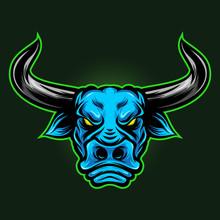 Bull Head Blue Style Logo Vector Illustration