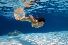 Mermaid Swim Underwater, Indian Ocean, Maldives
