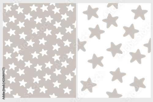 obraz lub plakat Cute Stars Vector Patterns. Irregular Hand Drawn Simple Graphic. Declicate Illustrations. Infantile Style Design. White and Gray Color.