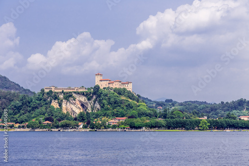 Fotografija  View of Fortress Rocca of Angera, as seen across Lake Maggiore from Arona