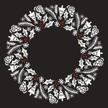 Christmas Wreath With Round Fr...