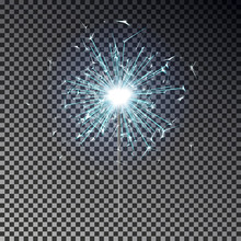 Blue Bengal Fire. New Year Sparkler Candle Isolated On Transparent Background. Realistic Vector Ligh