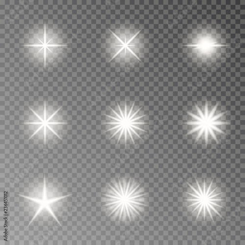 Flash light camera effect vector  Twinkle sparkle isolated on