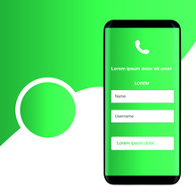 Smartphone On A Green Background, Mobile Application, Vector Illustration