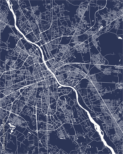 Map of the city of Warsaw, Poland Tablou Canvas