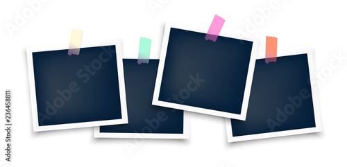 Fototapeta Photo frames mockup glued with color tape . Realistic empty templates. Polaroid mockup obraz