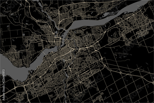 Canvas Print Map of the city of Ottawa, Ontario, Canada
