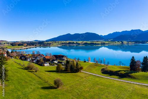 Aluminium Prints New Zealand Reservoir Forggensee near Dietringen, Bavaria, Germany