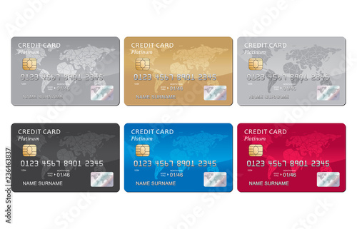 Obraz Credit card set vector - fototapety do salonu