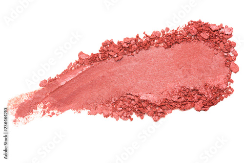 Fototapeta  Crumbled / crushed red eyeshadow powder isolated on white background