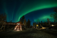 A Log Cabin In Pine Forest Under Aurora Borealis At YellowKnife,