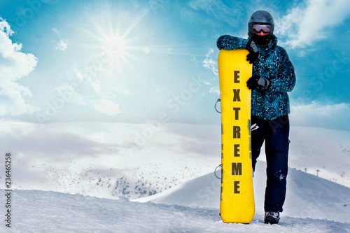 Extreme sport and adventures.Exercise and healthy lifestyle. Winter sport. snowboarding